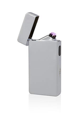 TESLA Lighter T13 Lichtbogen-Feuerzeug, elektronisches USB Feuerzeug, Double-Arc Lighter, wiederaufladbar, Silber