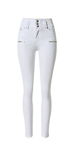 iRachel Damen High Waist Jeanshose Stretch Slim Hose Skinny Jeans Hosen, Weiß, Gr. Tag 34 (US 2,UK6,EU 34)