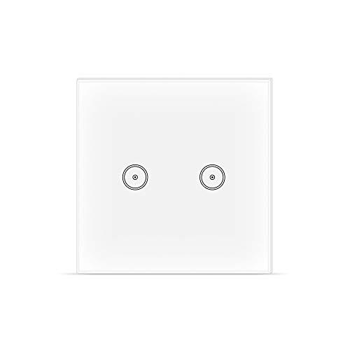 Smart WIFI Lichtschalter, Gehärtetes Glas Wandschalter Touchscreen Smart Switch, Arbeitet mit Alexa Google Home und IFTTT, Timing-Funktion, 2.4 GHz, Kein Hub erforderlich 2-gang