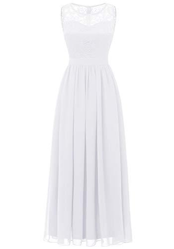 Aupuls 0046 Abendkleid Basic Chiffonkleid mit Spitzen Cocktailkleid Ärmellos See Through Ballkleider Weiß XXL - Ballkleid Hochzeit Weiße