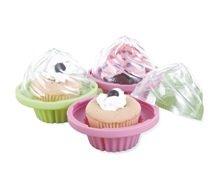 Set von 2Silikon Cupcake Halter, Cupcake to go Container, Farben sind pink und blau, Party Cupcake, praktische Cupcake Aufbewahren, Mittagessen Cupcake Traveller, handlich für eine Twin Cupcake Geschenk, antihaftbeschichtet Basis-mit eine perfekte Schließen Deckel, Cupcake mit Deckel, Ihren auf der Top Nicht Spoiled, perfekt für Schule, Büro, Shop Kaffee Cupcake (Cupcake-container Single)