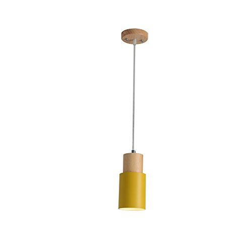 Round Solide Holz Kronleuchter, Nordic LED Aluminium Schwarz / Grün / Rosa / Weiß / Gelb Mini Deckenleuchte Moderne minimalistische Wohnzimmer Studie Schlafzimmer Pendelleuchte Kreative Holz Cafe Esszimmer Korridor Kronleuchter ( Color : Yellow )