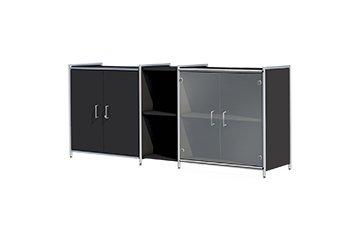 Sideboard für Ihr Büro - Anthrazit / Glas für 2 Ordnerhöhen