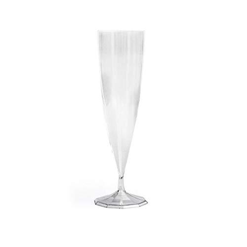 50 flûtes à champagne jetables plastique transparentes, effet torsadé