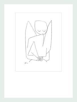 Bild mit Rahmen Paul Klee - Vergesslicher Engel - Digitaldruck - Holz silber, 60 x 79.8cm - Premiumqualität - Zeichnung, Engel, Himmelswesen, Expressionismus, Klassische Moderne, Büro, Wohnzimme.. - MADE IN GERMANY - ART-GALERIE-SHOPde