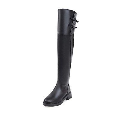 Wuyulunbi@ Scarpe Donna Moda Invernale Stivali Stivali Punta Tonda Coscia-Alti Stivali Per Abbigliamento Casual Beige Bianco Nero Noi9.5-10 / EU41 / UK7.5-8 / CN42