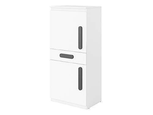 2 Tür, 2 Schublade Sideboard (Mirjan24  Schrank Replay RP08 mit Schublade und 2 Türen, Kommode, Highboard, Sideboard, Mehrzweckschrank für Jugendzimmer, Kinderzimmer (Weiß/Weiß Hochglanz, Graphit))