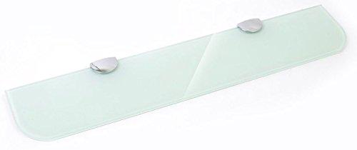 500mm x 100mm, 6mm di spessore ripiano in vetro temperato bianco per bagno, camera da letto ufficio grande supporti per mensole con finiture cromate