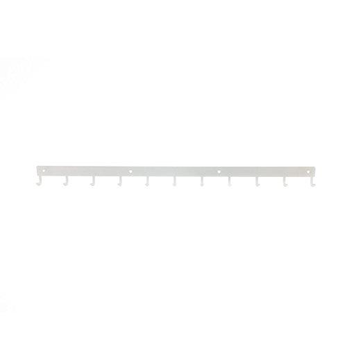 Perchero de metal, barra grande de 80 cm, estante de pared con 11 ganchos para colgar ropa, llaves, organizador, oficina, puerta, casa, jardín, garaje, baño, acero sólido, resistente Blanco