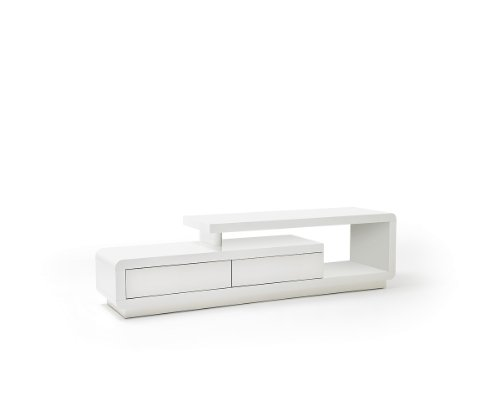MCA furniture Meuble TV Contemporain Cally laqué Blanc Brillant 2 tiroirs