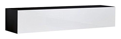 Muebles bonitos mobile tv sospeso design forli m nero bianco - larghezza: 100cm x altezza: 30cm x profondità: 40 cm, anta a ribalta orizzontale lucida porta tv