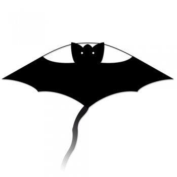 Einleiner-Drachen - Little Bat BLACK - für Kinder ab 3 Jahren - Abmessung: 63x30cm - inkl. 60m Drachenschnur und langer Drachenschwanz