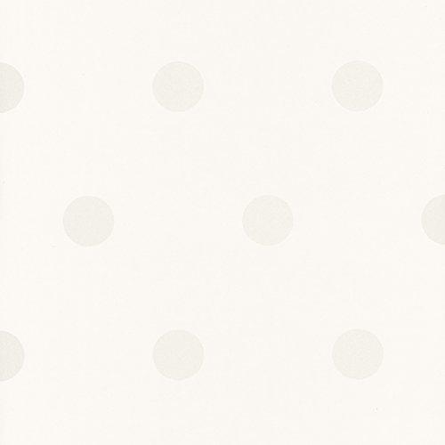 Caselio Shades 67790077 - Papel pintado con lunares de 5 cm aprox con el fondo en color blanco roto y dibujos metalizados nacarados