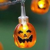 terkette Batteriebetriebene Laterne Kürbis 20 LED Halloween Dekoration, warmes weißes 7.2ft / 2.2meters M LD067 ()