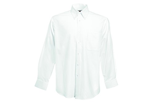 Fruit of the Loom Herren Freizeithemd Long Sleeve Oxford Shirt Weiß (White 30)