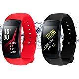 Rukoy Courroies pour Samsung Gear Fit 2 Bande/Gear Fit 2 Pro [Paquet de 2: Noir +...
