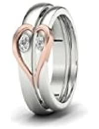 Silverish Forever Love Matching Ring For Him And Her Alloy Cubic Zirconia Rhodium Plated Ring Set - B07CS1PWPM