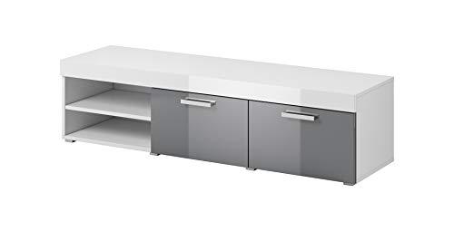 TV Möbel Konsole Tisch Schrank ELSA 140 cm Korpus Matt/Front Hochglanz Grau -