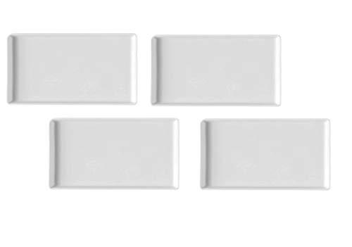 4er-Set - schlichte kleine rechteckige weiße Porzellan-Teller für Tapas, Vorspeisen, Sushi, Gewürzsauce, Dessert, Nüsse, Süßigkeiten, Schokolade, Käse, Servierteller, 16,6 x 8,9 cm (Süßigkeiten Nüsse Und)