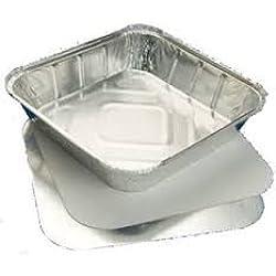 Bakery Direct Lot de 25grandes barquettes alimentaires en aluminium 22,9x 22,9x 5,1cm avec couvercles