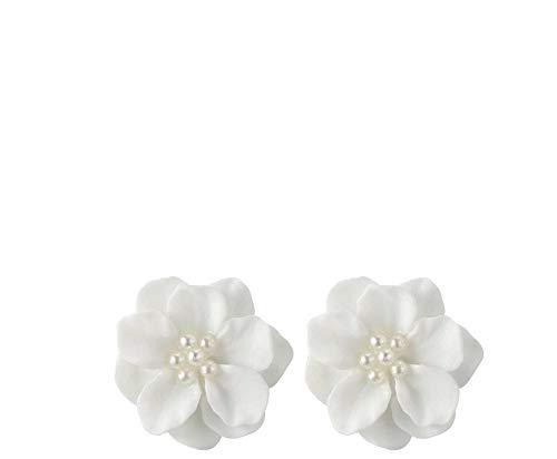 Ohrringe Silber 925-Elegante Weiß Kamelie Form mit Perle Legierung Ohrringe Hypoallergen, Jugendstil Ohrringe, Ohrstecker für Geburtstag Geschenk Party Hochzeit (Weiß)