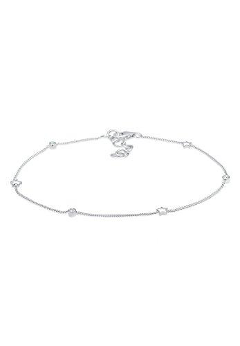 Elli Damen Fußschmuck Fußkettchen Sterne Astro Solitär Swarovski Kristalle 925 Sterling Silber - 22cm Länge