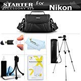 "Accessory Starter Kit For The Nikon Coolpix L21, L22, L110 L120, L310, L810, L820, L620 Digital Camera Includes Deluxe Carrying Case + 50"" Tripod w/Case + USB 2.0 Reader + LCD Screen Protectors + Mini Flexible Tripod + Lens Cleaning Kit + MicroFiber Cloth"