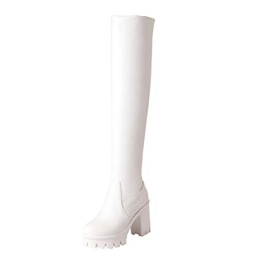 Coolulu Damen Overknee High Heels Stiefel Plateau Blockabsatz Stretch Langschaft Stiefel Elegant Winter Schuhe (Weiß,37) - Stretch High Heel Boot