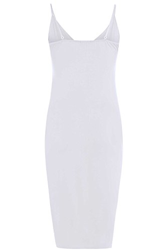 Frauen Strap Lange Midikleid Cami Bodycon Midikleid 36-50 White 1 ...