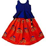 MMW Baby Girl's Birthday Party wear Readymade Dress (Full Stitched_Red-Blue_Lehenga Size - 6 Years to 7 Years old)