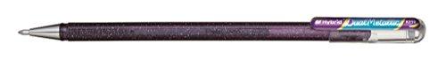 Pentel K110-DVX Dual Metallic Hybrid Dual Metallic Gelroller, Glitzer Gel, 1 Stück, lila/blau 2 verschiedene Farb-Effekte auf hellem/dunklem Papier violett+metallic blau