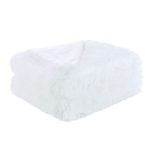 sourcing map Weiches Kunstfell Blanket-Long Shaggy Fleece Faser Bett Decke Home Dekoration, Überwurf/Twin/Full/Queen Size, weiß, Queen -