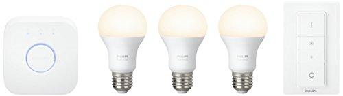 Philips Hue White E27 LED Lampe Starter Set, drei Lampen inkl. Bridge und Dimmschalter, dimmbar, warmweißes Licht, steuerbar via App, kompatibel mit Amazon Alexa