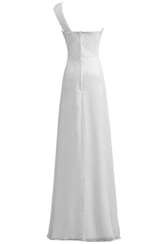 Sunvary A-line perle elegante per una spalla Pageant abito da sera, Donna White