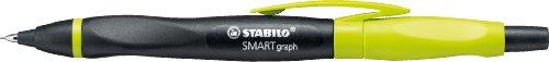 Ergonomischer Druck-Bleistift mit Radiergummi - STABILO SMARTgraph in schwarz/kiwi - Härtegrad HB -...