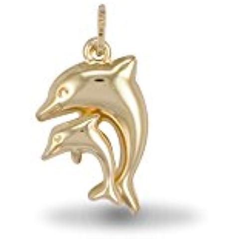 In oro 9 k con doppio pendente a forma di delfino