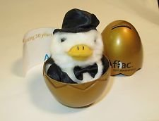 talking-aflac-50th-anniversary-golden-egg-miniature-plush-toy-duck-in-black-tuxedo-keychain-by-bever