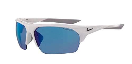 Nike Herren Terminus R Sonnenbrille, Weiß/Anthrazit/Grau mit blauen Spiegelgläsern