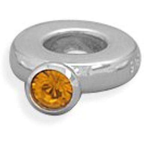 Anello con perline di cristallo arancione argento Sterling Novembre Birthstone anello Story Charm