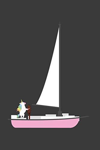 Segelboot Kostüm - Einhorn fährt Segelboot: Liniertes DinA 5 Notizbuch für Musikerinnen und Musiker Musik Notizheft