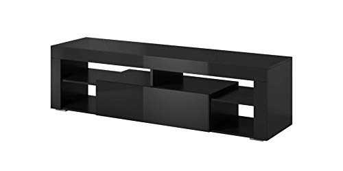 E-Com - TV-Lowboard Fernsehschrank Fernsehtisch Titan - 140 cm - Schwarz