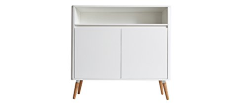 Miliboo - Buffet design scandinavo bianco e legno TOTEM
