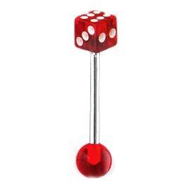 PiercedOff bilanciere con dado fine, colore: rosso