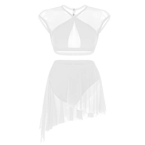 Agoky Zweiteiler Damen Erwachsene Ballettkleid Tanzkleid Modern Lyrischen Kleid Latin Dance Kostüm Outfits Ärmellos Crop Tops Kreuz Rücken Asymmetrischer Rock Weiß XS(Brust 64cm) (Latin Dance Kostüm Kleider)