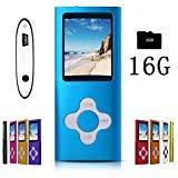 G.G.Martinsen Vielseitiger MP3-/MP4-Player mit 16 GB Micro-SD-Karte, unterstützt Photo Viewer, Mini USB Port 1.8 LCD, Digital MP3 Player, MP4 Player, Video-/Media-/Musik-Player, Blau -