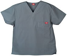 'One Pocket Unisex V-Ausschnitt Top' Scrub Top Pewter X-Small (Pocket-v-ausschnitt-scrub-top)