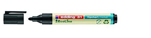 edding 31 Eco Line Flipchart Marker - 10x Schwarz - Speziell zum Beschriften von Flipcharts, Moderationspapier und Moderationskarten - Rundspitze