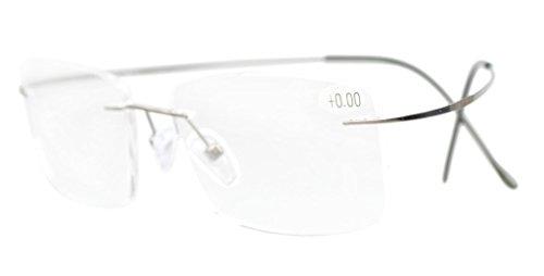 Eyekepper Occhiali da Vista Senza Montatura Aste in Metallo Gunmetal Occhiali Presbiopia Diottria +0.00