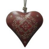 Deko Herz zum Aufhängen 28 cm Untergrundfarbe rot Eisen (Rote Herz Kranz)