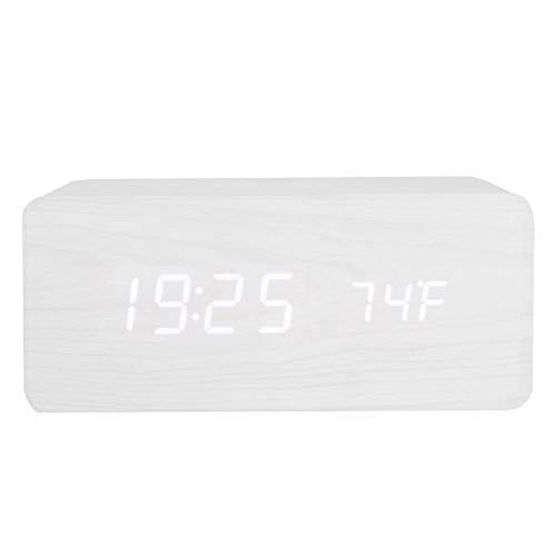 r Bluetooth Lautsprecher, Bluetooth Wireless Alarm Clock Radio Speaker System,Qi Wireless Charging 12/24-Stunden LED Spiegel Uhr Lautsprecher Wecker(Weiß Holz+weiß Licht) ()
